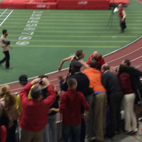 Rupp thanks the crowd after setting the AR.